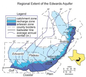 Fig. 2: The Edwards Aquifer extends through all of central Texas (Musgrove, 2000). The down-dip limit of potable water in the aquifer is defined by the bad water line (1000 mg/l).